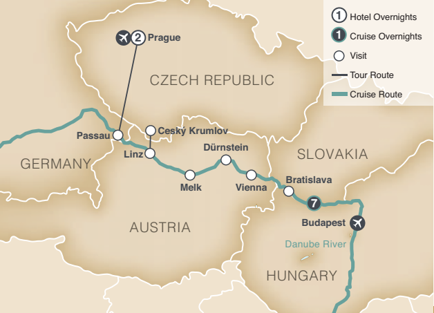 Map of Czech Republic and surrounding areas.